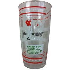 Mid-Century Modern Hazel Atlas Cocktail Recipes Golf Theme Glass Drinks Mixer
