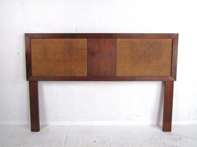 Stylish Mid-Century Modern headboard with cane accents. Sturdy construction. Great addition to any modern interior. Please confirm item location with dealer (NJ or NY).