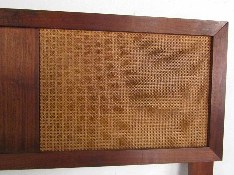 20th Century Mid-Century Modern Headboard with Cane Accents For Sale
