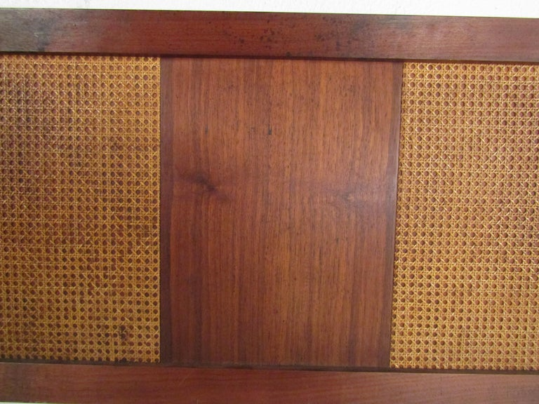 Mid-Century Modern Headboard with Cane Accents For Sale 1