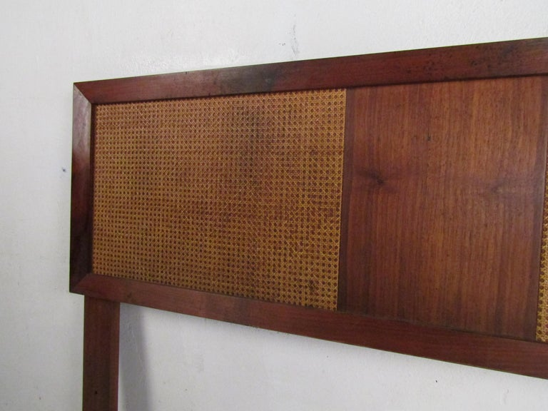 Mid-Century Modern Headboard with Cane Accents For Sale 2