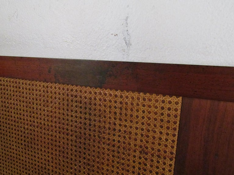 Mid-Century Modern Headboard with Cane Accents For Sale 3
