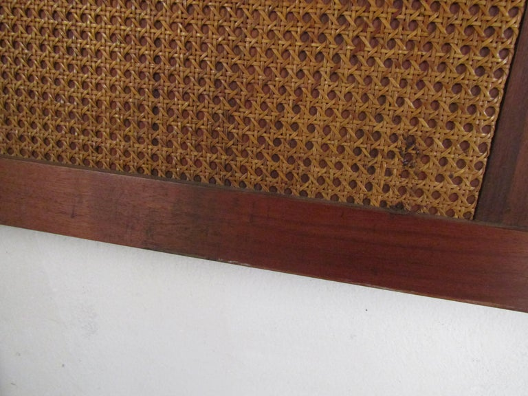 Mid-Century Modern Headboard with Cane Accents For Sale 4