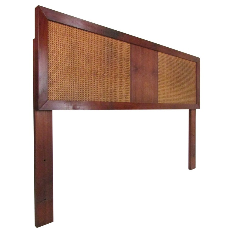 Mid-Century Modern Headboard with Cane Accents For Sale