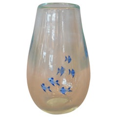 Mid-Century Modern Heavy Blown Clear Glass Studio Piece Blue Fish Vase, Italy