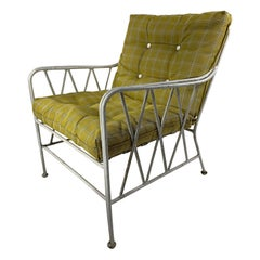 Mid-Century Modern Heavy Cast Iron Wire Outdoor Lounge Chair