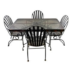 Mid-Century Modern Heavy CastIron Outdoor Dining Set - 5 Pieces