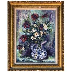 Mid-Century Modern Heavy Impasto Floral Still Life Oil Painting, circa 1950s