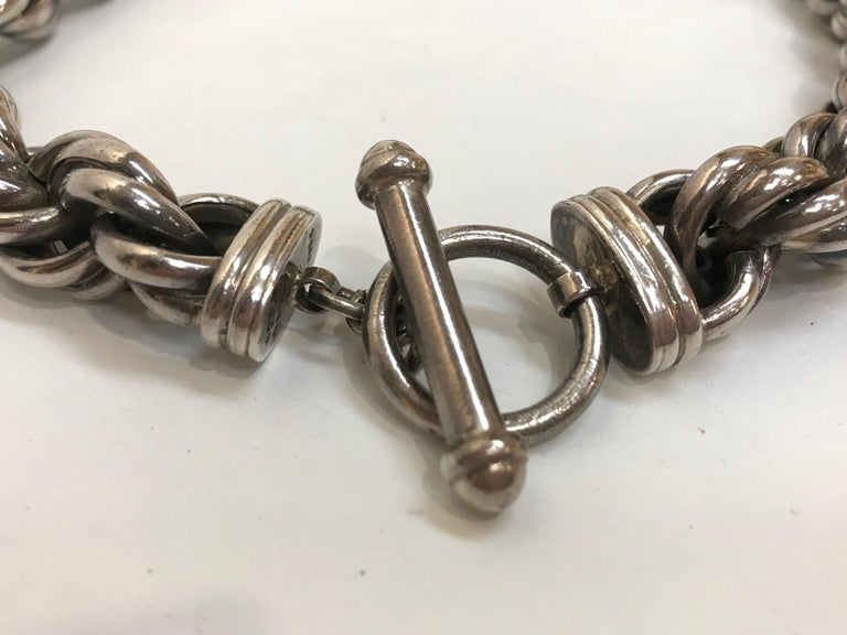 Mid Century Modern Heavy Sterling Silver Twist Rope Chain Necklace Estate Find For Sale 1