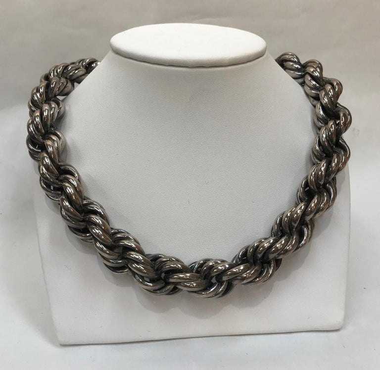 Mid Century Modern Heavy Sterling Silver Twist Rope Chain Necklace Estate Find For Sale 2