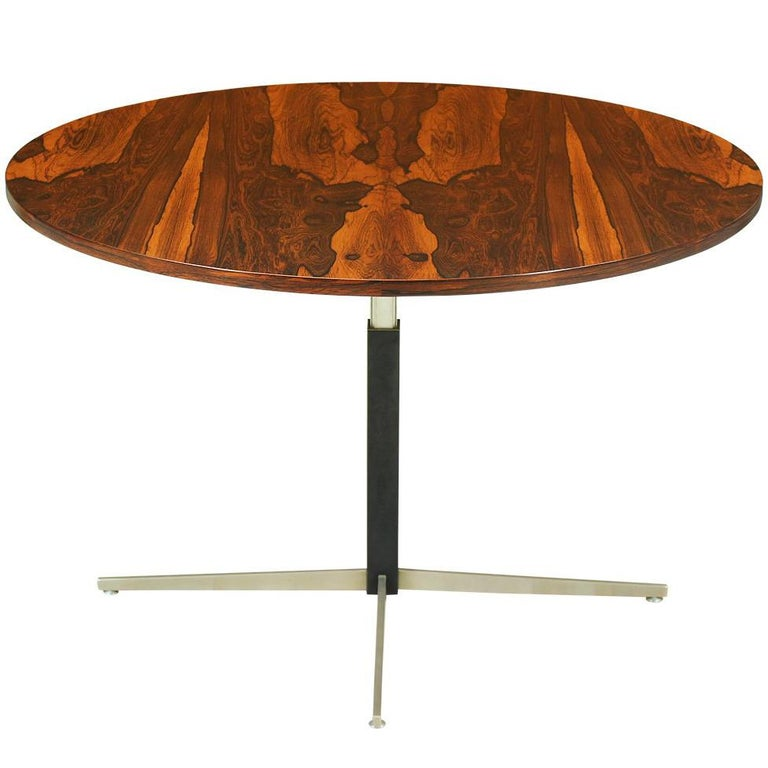 Round Adjustable Height Table From Coffee To Dining: Mid-Century Modern Height-Adjustable Rosewood Dining