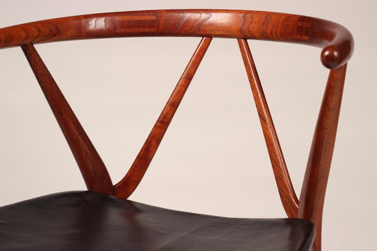 Mid-Century Modern Henning Kjærnulf Teak and Leather Dinning Chair Model 255 For Sale 3