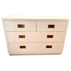 Mid-Century Modern Henredon Newly White Lacquered Campaign Style Chest Drawers