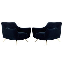 Mid-Century Modern Henry Glass Lounge Chairs in Navy Mohair