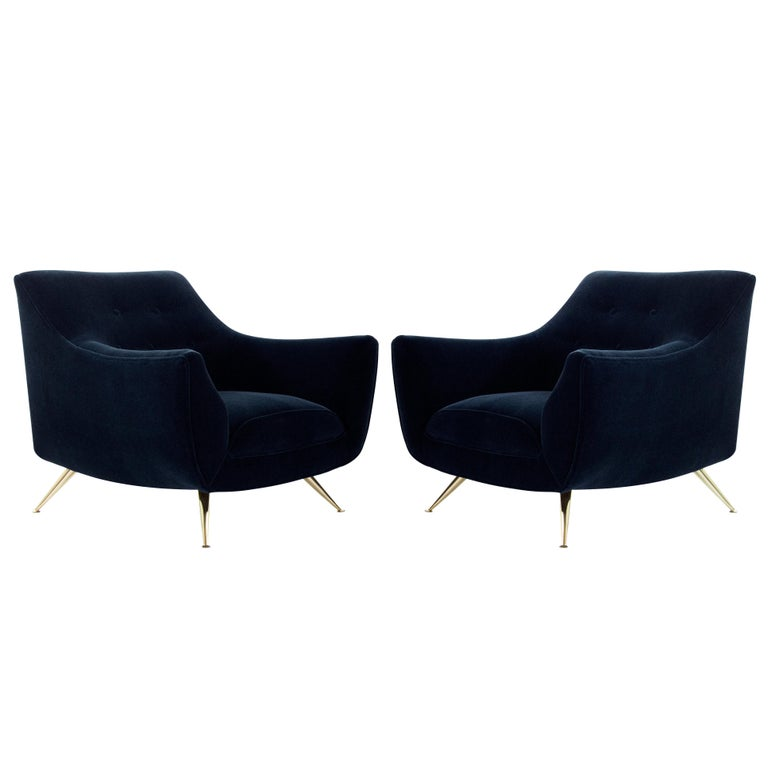 Mid-Century Modern Henry Glass Lounge Chairs in Navy Mohair For Sale