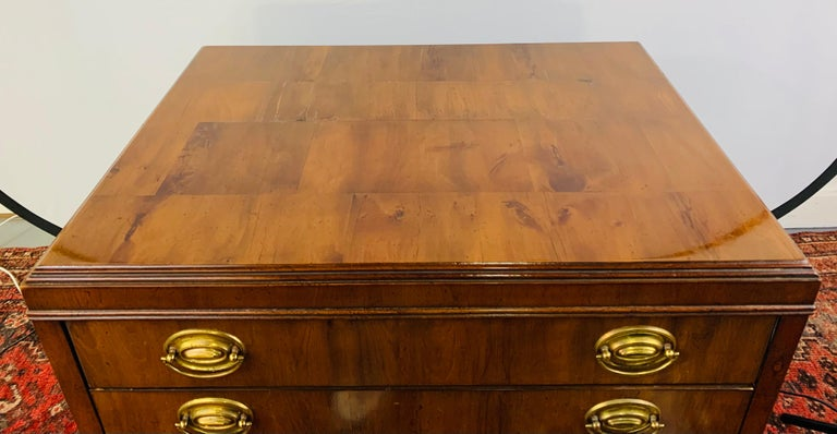 American Mid-Century Modern Heritage Walnut Burl Wood Chest, End Table or Nightstand For Sale
