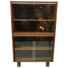 Mid-Century Modern Herman Miller George Nelson Two Part Glass Bookcase Cabinet