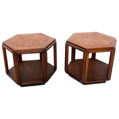 Hexagonal Side Tables in Walnut with Burlwood Top by John Keal for Brown Saltman