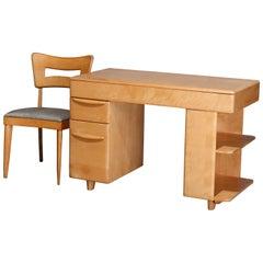 Mid-Century Modern Heywood Wakefield Champagne Desk & Chair, 20th Century