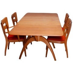 Mid-Century Modern Heywood Wakefield Dog Bone Dining Set, Table with Four Chairs