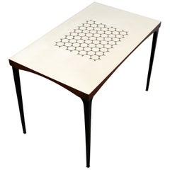 Mid-Century Modern Heywood Wakefield Laminate Top Side End Table Steel Legs 60s