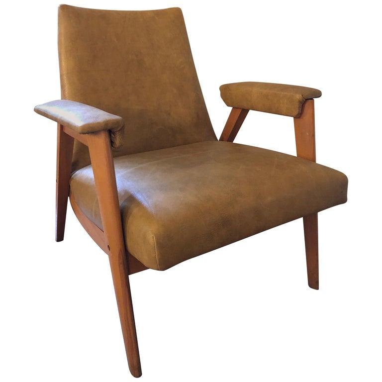 Mid-Century Modern Heywood Wakefield Leather Chair