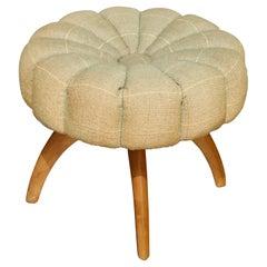 Mid-Century Modern Heywood Wakefield Upholstered Wishbone Vanity Stool