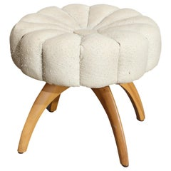 Mid-Century Modern Heywood Wakefield Upholstered Wishbone Wheat Vanity Stool