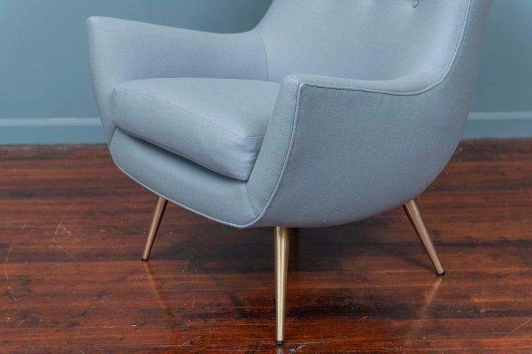 Brass Mid-Century Modern High Back Lounge Chair