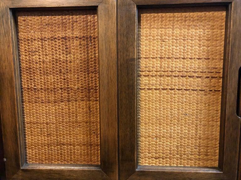 Mid-Century Modern High Boy Dresser with Cane Doors 1