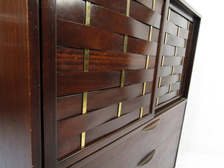 Veneer Mid-Century Modern High Dresser Designed by Harvey Probber For Sale