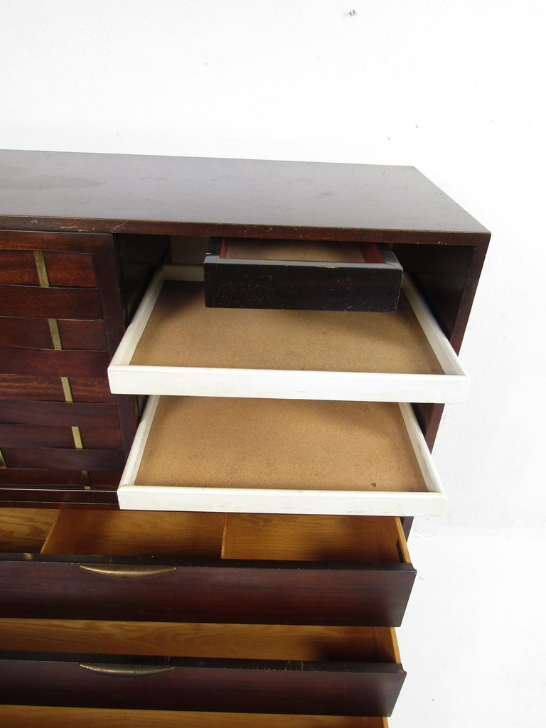 Brass Mid-Century Modern High Dresser Designed by Harvey Probber For Sale