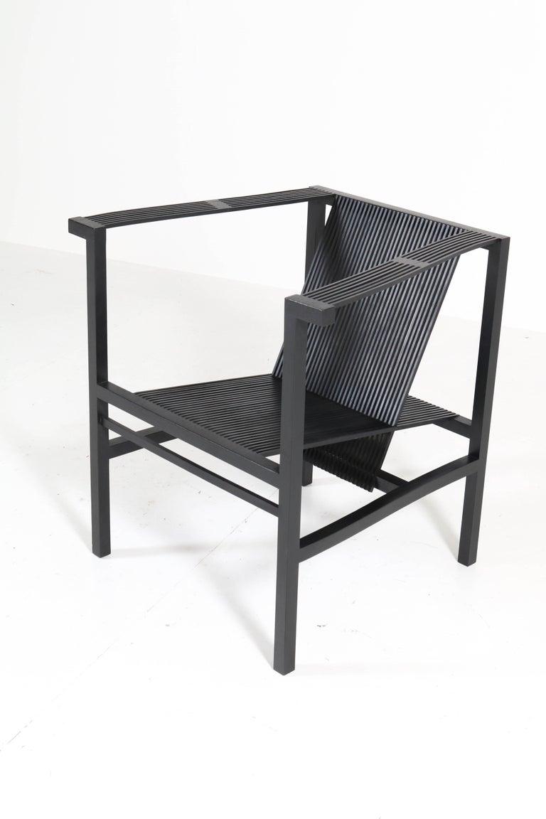 Dutch Mid-Century Modern High Slat Armchair by Ruud-Jan Kokke for Metaform, 1984 For Sale