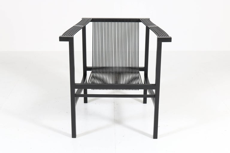 Lacquered Mid-Century Modern High Slat Armchair by Ruud-Jan Kokke for Metaform, 1984 For Sale