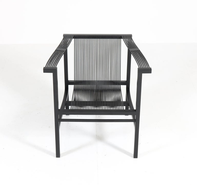 Mid-Century Modern High Slat Armchair by Ruud-Jan Kokke for Metaform, 1984 In Excellent Condition For Sale In Amsterdam, NL