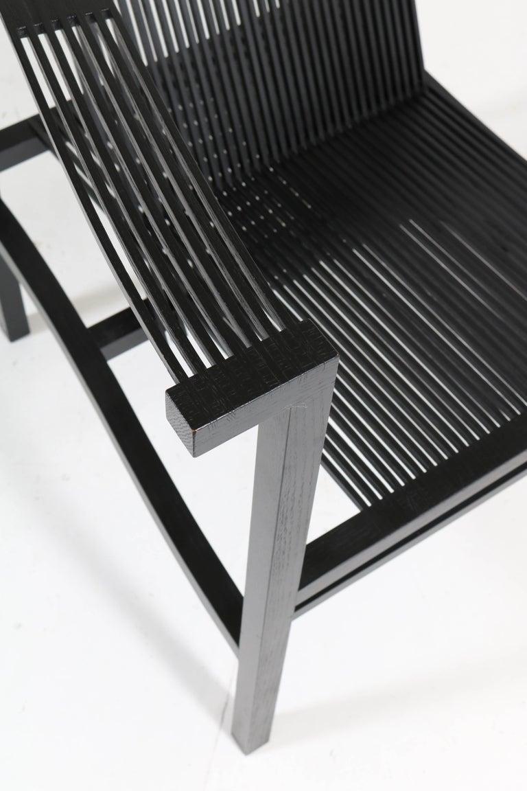 Mid-Century Modern High Slat Armchair by Ruud-Jan Kokke for Metaform, 1984 For Sale 1