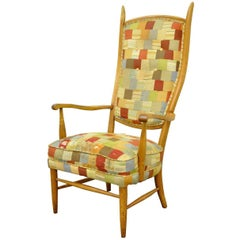 Mid-Century Modern High Tall Back Maple Armchair Attributed to Edward Wormley