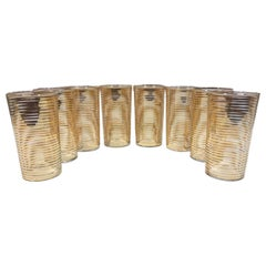 Mid-Century Modern Highball Glasses with Gold Band Decoration