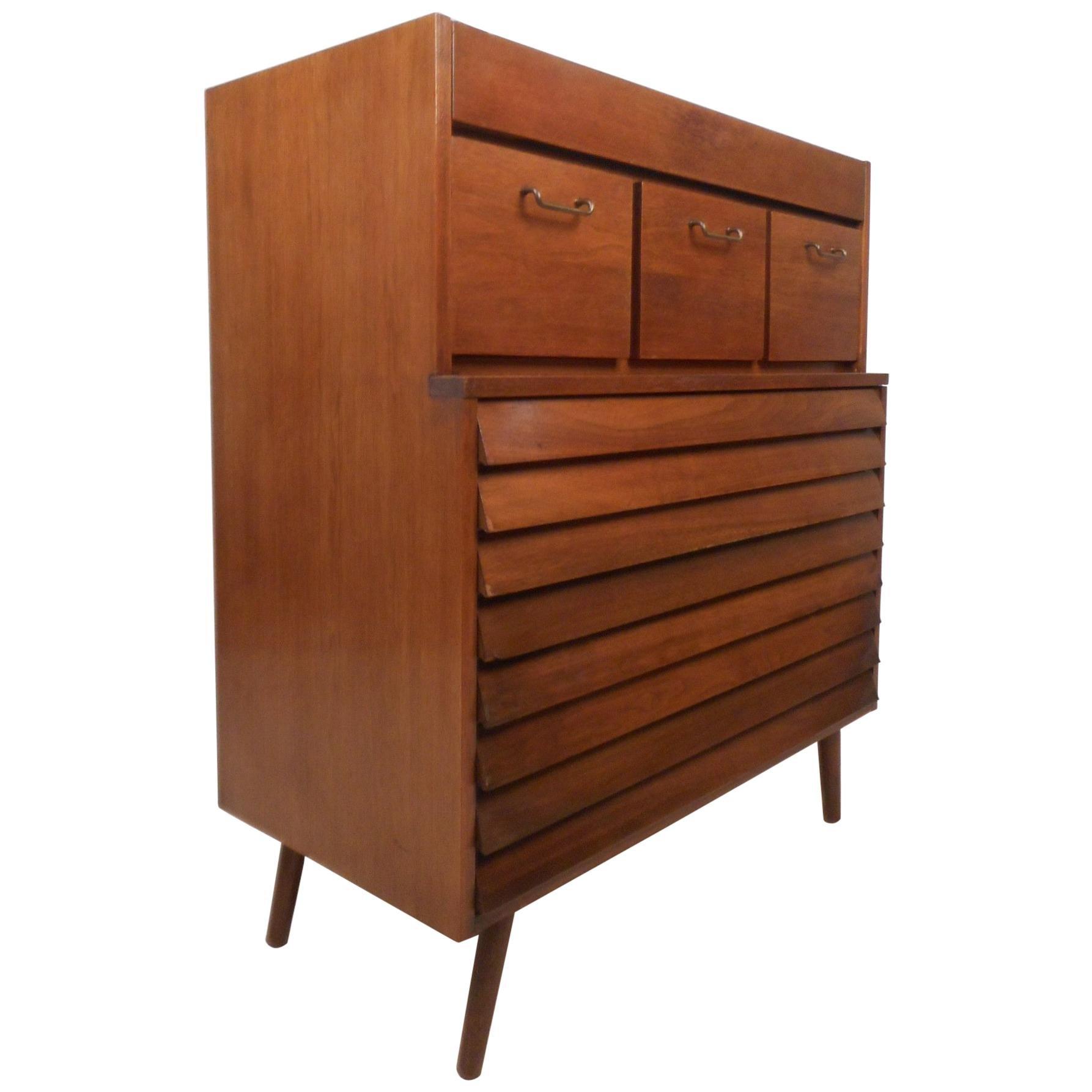 Mid-Century Modern Highboy Dresser by American of Martinsville