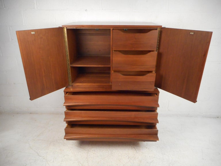 American Mid-Century Modern Highboy Dresser with Curved Drawer-Fronts