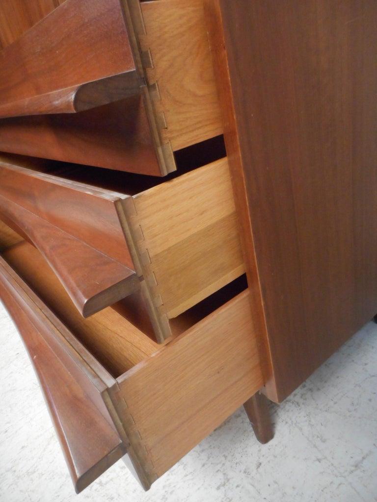 Walnut Mid-Century Modern Highboy Dresser with Curved Drawer-Fronts