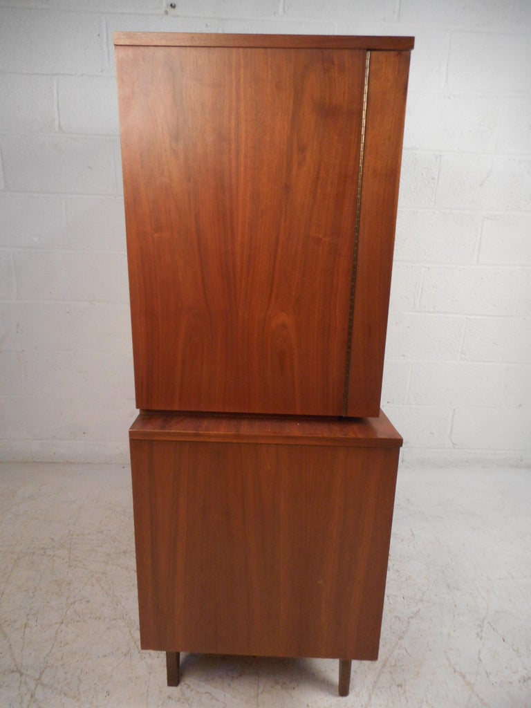 Mid-Century Modern Highboy Dresser with Curved Drawer-Fronts 1
