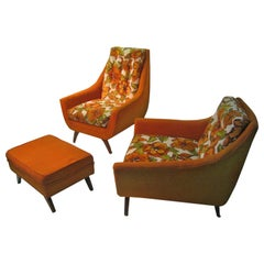 Mid-Century Modern Lounge Chairs with Ottoman Living Room Set