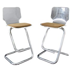 Mid-Century Modern Hollis Jones Hill Pair of Lucite & Chrome Bar Stools, 1970s
