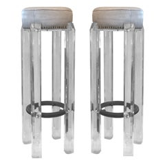 Mid-Century Modern Hollis Jones Lucite and Leather Stools with Metal Footrest