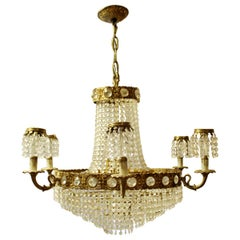 Mid-Century Modern Hollywood Regency 6-Arm Brass Crystal Chandelier Fixture