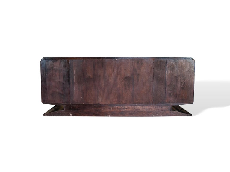 Mid-Century Modern Hollywood Regency Art Deco Black Lacquered Sideboard For Sale 5