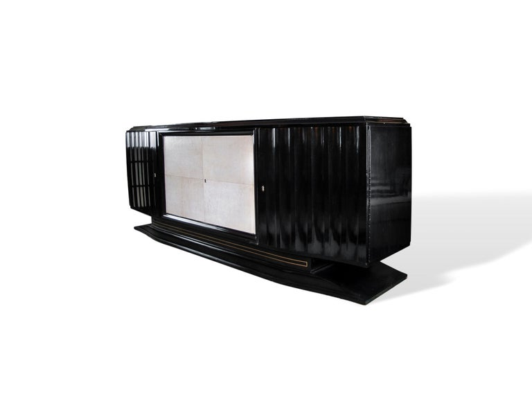 French Mid-Century Modern Hollywood Regency Art Deco Black Lacquered Sideboard For Sale