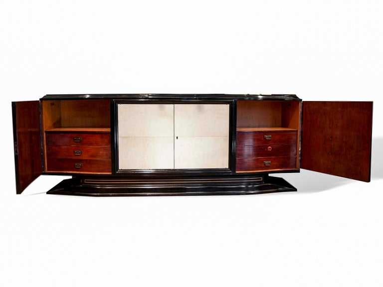 Mid-20th Century Mid-Century Modern Hollywood Regency Art Deco Black Lacquered Sideboard For Sale