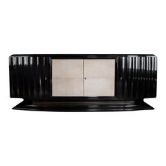 Mid-Century Modern Hollywood Regency Art Deco Black Lacquered Sideboard